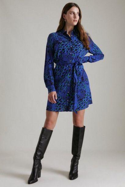 Oferta de Leopard Head Woven Mini Shirt Dress por 72€