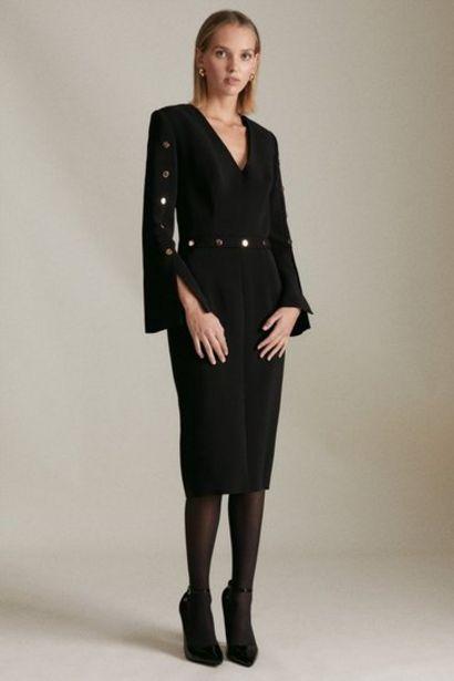 Oferta de Petite Compact Viscose Stud Detail Dress por 203,2€