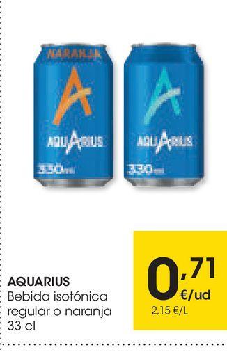 Oferta de Bebida isotónica Aquarius regular o naranja 33 cl por 0,71€
