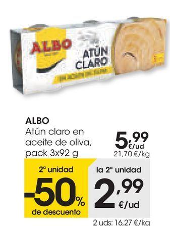 Oferta de Atún claro en aceite de oliva, pack 3 x 92 g, Albo por 5,99€
