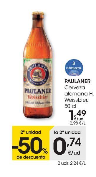 Oferta de Cerveza alemana H. Weissbier 50 cl, Paulaner por 1,49€
