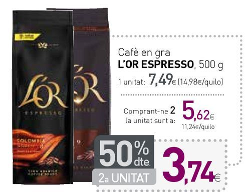 Oferta de Cafè en gra L'OR ESPRESSO por 7,49€