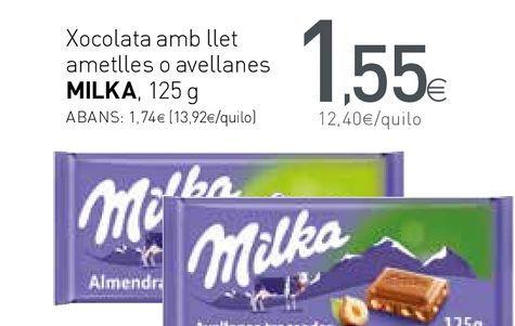 Oferta de Xocolata amb llet ametlles o avellanes MILKA por 1,55€