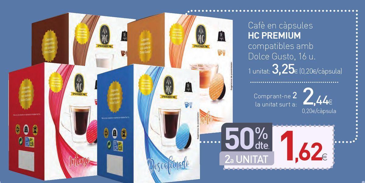 Oferta de Café en càpsules HC PREMIUM compatibles amb Dolce Gusto por 3,25€