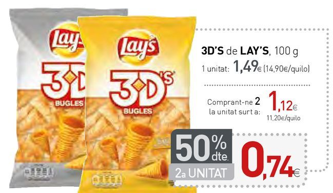 Oferta de 3D'S de LAY'S por 1,49€