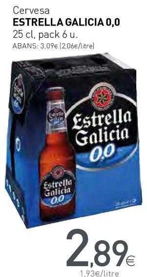 Oferta de Cervesa ESTRELLA GALICIA 0,0 por 2,89€