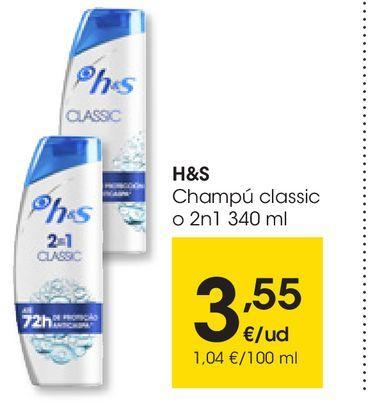 Oferta de Champú classic o 2n1 H&S 340 ml por 3,55€