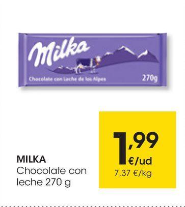 Oferta de Chocolate con leche 270 g MILKA por 1,99€