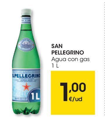 Oferta de Agua con gas SAN PELLEGRINO 1 L por 1€