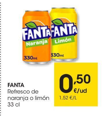 Oferta de Refresco de naranja o limón FANTA 33 cl por 0,5€