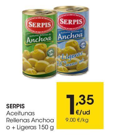 Oferta de Aceitunas rellenas anchoa o +Ligeras 150 g SERPIS por 1,35€