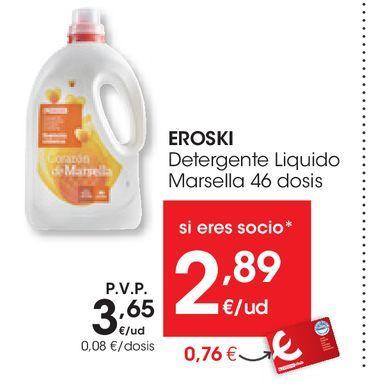 Oferta de Detergente Liquido Marsella EROSKI 46 dosis por 3,65€