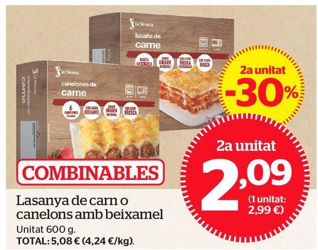 Oferta de Lasaña de carne por 2,09€