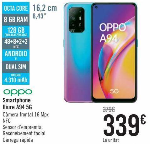 Oferta de Oppo Smartphone libre A94 5G por 339€