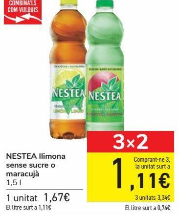 Oferta de NESTEA Limón sin azúcar o maracuyá  por 1,67€