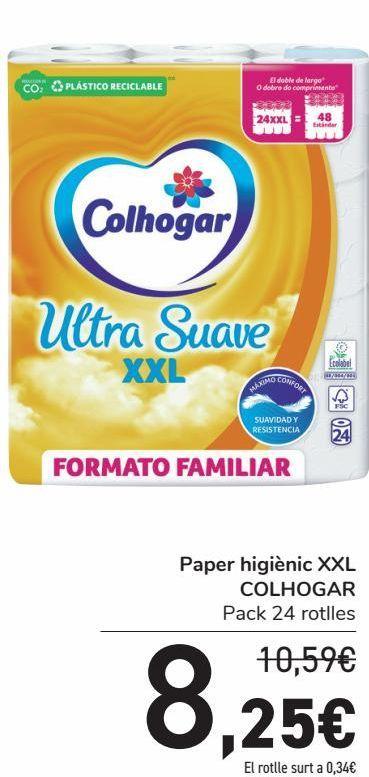 Oferta de Papel higiénico XXL COLHOGAR  por 8,25€