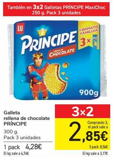 Oferta de Galleta rellena de chocolate PRÍNCIPE  por 4,28€