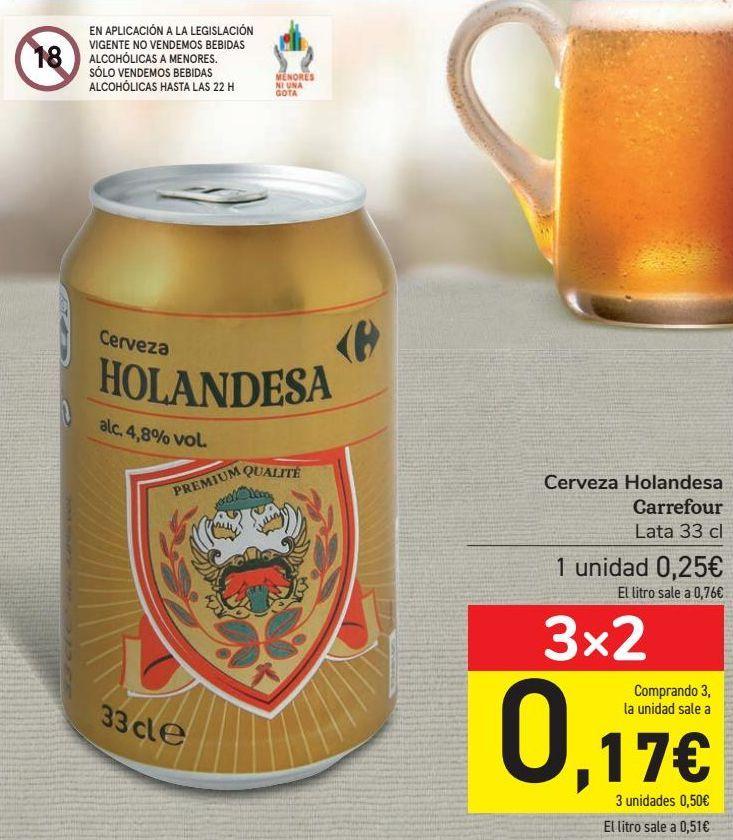 Oferta de Cerveza Holandesa Carrefour  por 0,25€