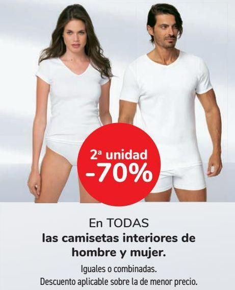 Oferta de En TODAS las camisetas interiores de hombre y mujer  por