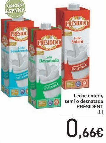 Oferta de Leche entera, semi o desnatada PRÉSIDENT por 0,66€