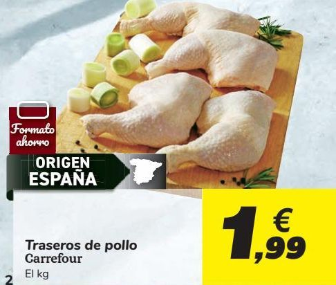 Oferta de Traseros de pollo Carrefour por 1,99€