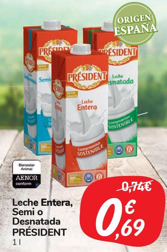 Oferta de Leche Entera, Semi o Desnatada PRÉSIDENT por 0,69€
