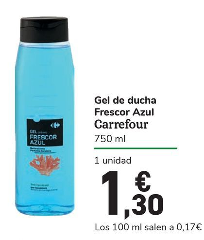 Oferta de Gel de ducha Frescor Azul Carrefour  por 1,3€