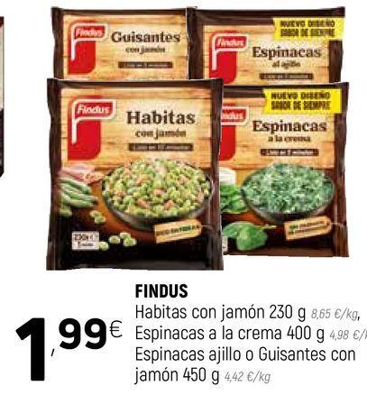 Oferta de Habitas con jamón, espinacas a ala crema, espinacas ajillo o guisantes con jamon   Findus por 1,99€