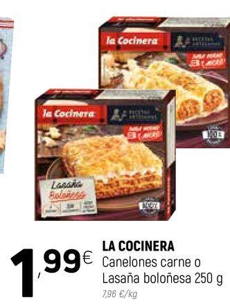 Oferta de Canalones carne o lasaña boloñesa La Cocinera por 1,99€