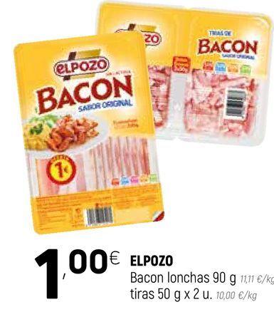 Oferta de Bacon en lonchas El Pozo por 1€