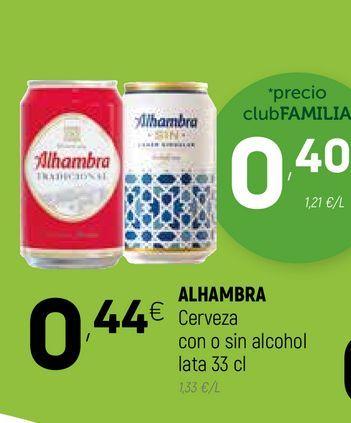 Oferta de Cerveza con o sin alcohol ALHAMBRA  por 0,4€