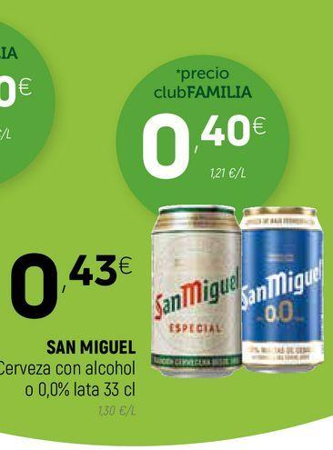 Oferta de Cerveza con alcohol 0 0,0% San Miguel por 0,4€