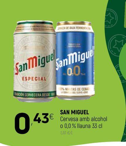 Oferta de Cerveza sin alcohol San Miguel por 0,43€