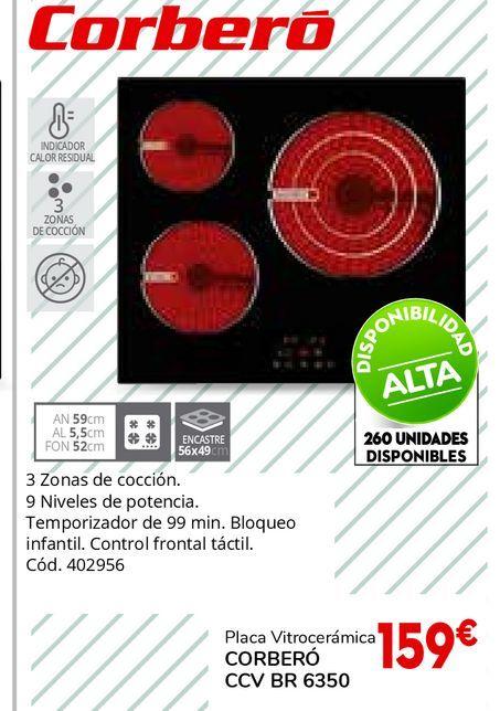 Oferta de Placa vitrocerámicas Corberó por 159€