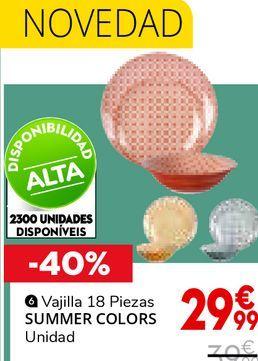 Oferta de VAJILLA SUMMER COLORS 18 PIEZAS por 29,99€