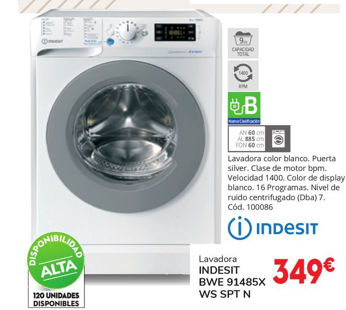 Oferta de LAVADORA INDESIT BWE 91485X WS SPT N por 349€