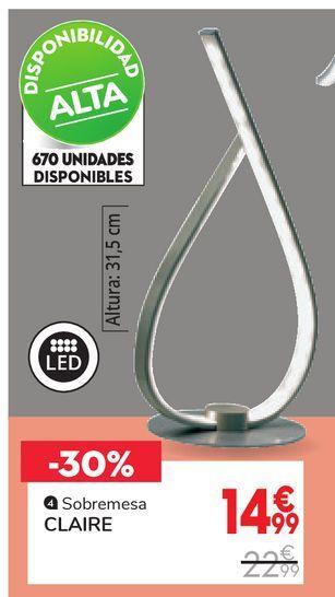 Oferta de Lámpara de sobremesa Led CLAIRE por 14,99€