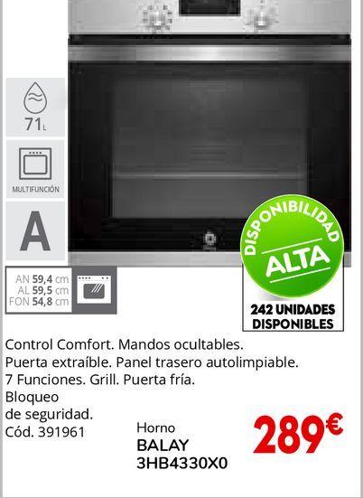 Oferta de Horno multifunción 61 L BALAY 3HB4330X0 por 289€