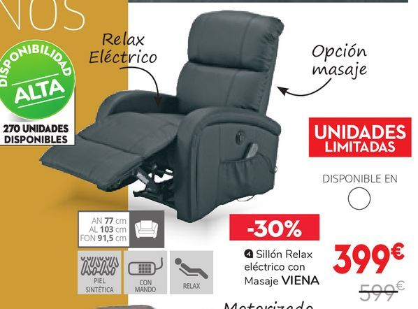 Oferta de Sillón relax motorizado con masaje VIENA por 399€