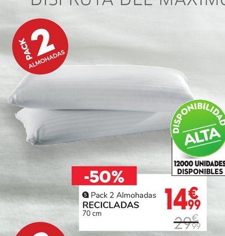 Oferta de Pack 2 almohada recicladas por 14,99€