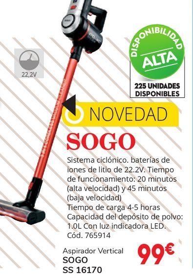 Oferta de ASPIRADOR ESCOBA SOGO ASP-SS-16170 por 99€