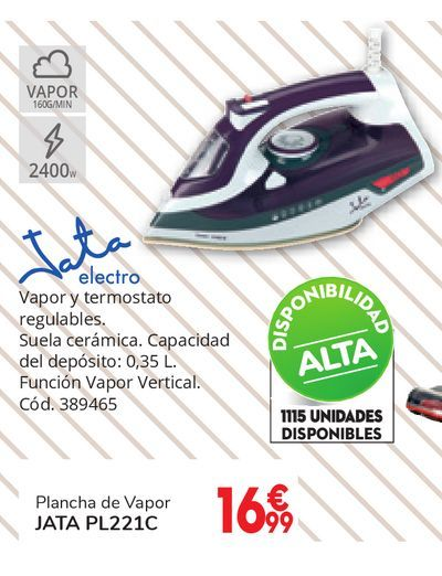 Oferta de Plancha de vapor 2400 W 60 g/min JATA PL221C por 16,99€