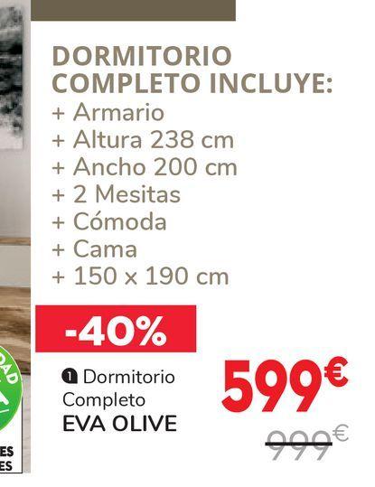 Oferta de Dormitorios colpleto EVA OLIVE  por 599€