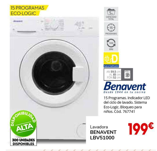 Oferta de LAVADORA BENAVENT LBV51000 por 199€