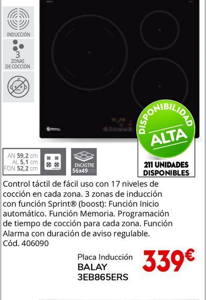 Oferta de Placa de inducción Balay por 339€