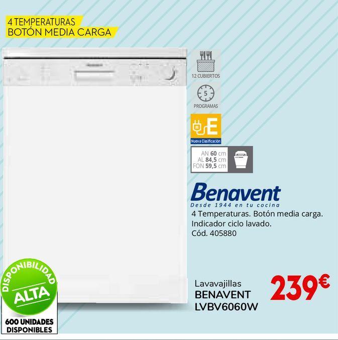 Oferta de Lavavajillas BENAVENT LVBV6060W por 239€