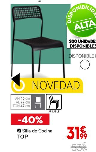 Oferta de Silla de cocina TOP por 31,99€