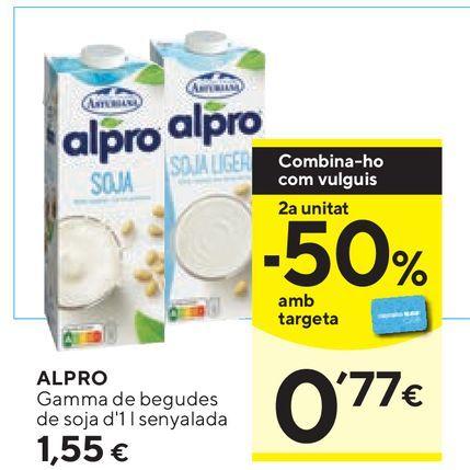 Oferta de Leche de soja Alpro por 1,55€