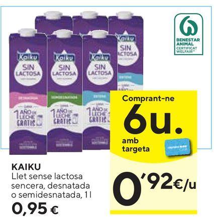 Oferta de Leche sin lactosa Kaiku por 0,95€