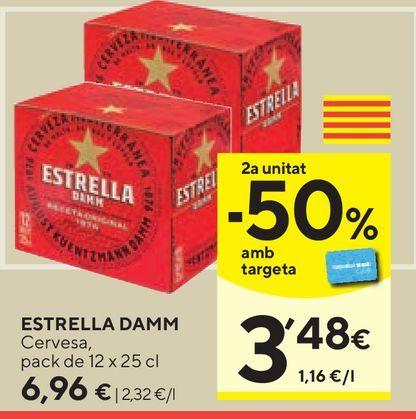Oferta de Cerveza Estrella Damm por 6,96€